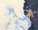 Erinnerung an den kleinen Prinzen - links ist der sehr zerklüftete Planet mit vielen Bergen, rechts ist der Weltraum sichtbar. Auf dem Planeten sieht man einen braunhaarigen blauhäutigen Menschen laufen mit rotem Mantel, gelber Hose und grünem Hemd.