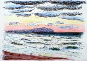 stürmische See in der Abendsonne mit dunklen Wolken