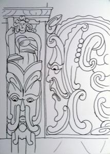 zwei Fratzengesichter mit wilden Augen und warnendem Gesicht, über denen ein Mensch eine Säule in der Hand hält