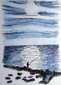 Angler auf felsiger Küste, dahinter die See mit Wolkenbändern am Himmel