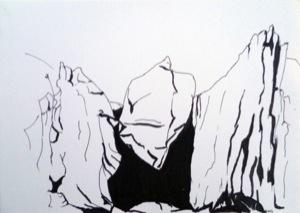 schwarzweiße Zeichnung von einer Felsenformation