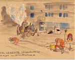 Man sieht auf die Bushaltestelle. Davor sind die Gleise, auf denen 3 Bauarbeiter mit Hammer, Schleifmaschine oder Lötmaschinearbeiten. An der Bushaltestelle ist die Teermaschine, die gerade befüllt wird.